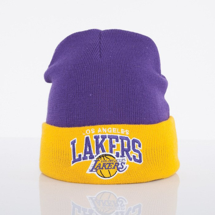 8c822cac2900ef Mitchell & Ness beanie Los Angeles Lakers purple Arched Cuff Knit EU349 |  Bludshop.com