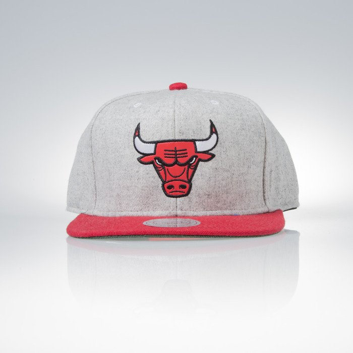 01bc2273 Mitchell & Ness snapback cap Chicago Bulls grey heather / red Melange  Flannel EU912 | Bludshop.com