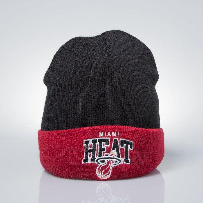 48d7356555e Mitchell   Ness winter beanie Miami Heat black   red EU349 ARCHED CUFF KNIT  EU349