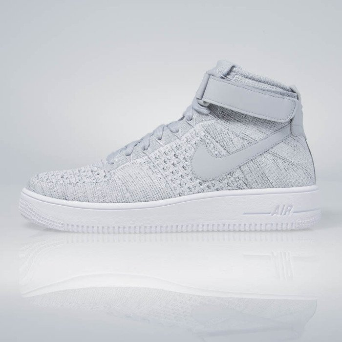 brand new 550b3 823a5 ... Nike Air Force 1 Ultra Flyknit Mid wolf grey   wolf grey-white 817420-  ...