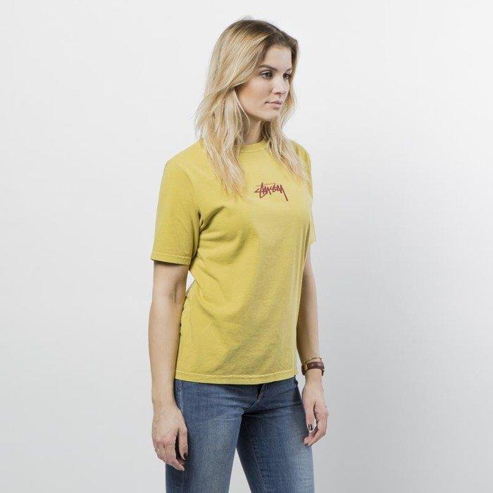 8b3ab1137 Stussy women t-shirt Stock Pig Dyed Tee mustard   Bludshop.com