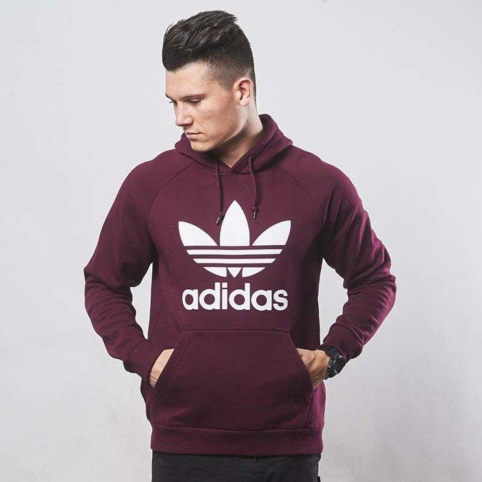 adidas trefoil t shirt burgundy