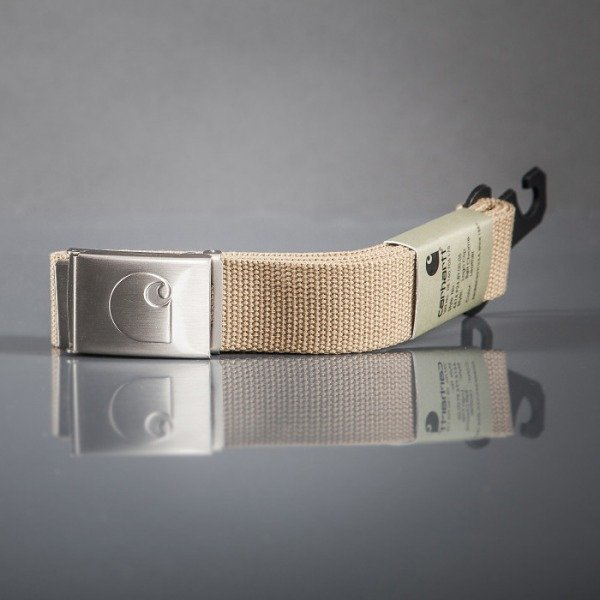 Carhartt WIP belt Logo Clip Chrome Leather