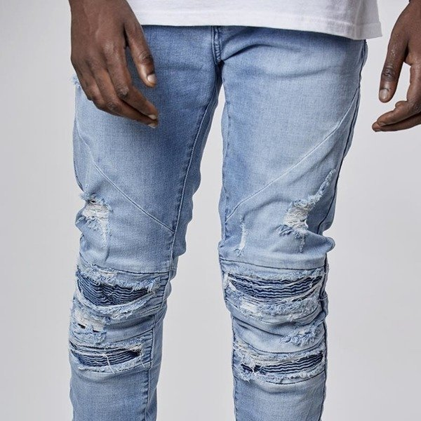Cayler & Sons pants All Day Denim Paneled Inverted Biker Denim Pants ripped light blue