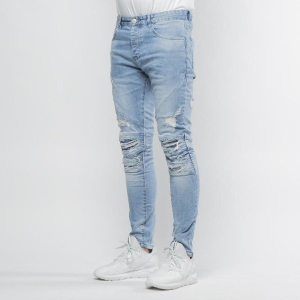 Cayler & Sons pants All Day Denim Paneled Inverted Biker Ian Denim Pants light blue