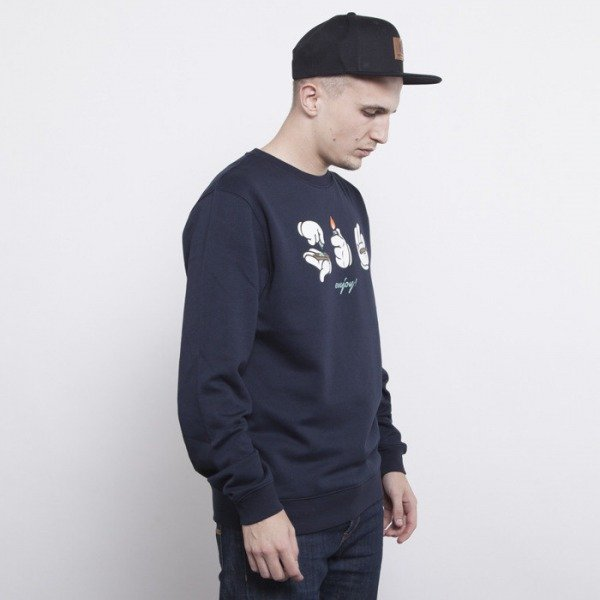 Cayler & Sons sweatshirt Roll Light Smoke crewneck deep navy / white / blue leaves CAY-AW14-AP-29-01