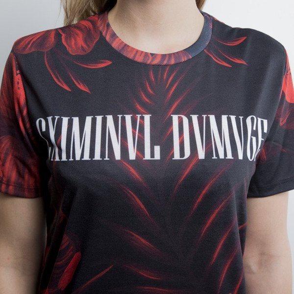 Criminal Damage t-shirt Najem black / red WMNS
