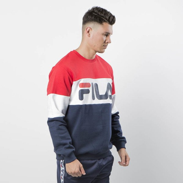 Fila Sweatshirt Man Straight Blocked Crew iris-bright white-true red