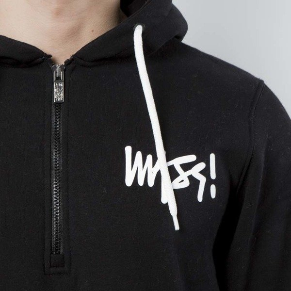 Mass Denim Sweatshirt Hoody Half Zip Signature black