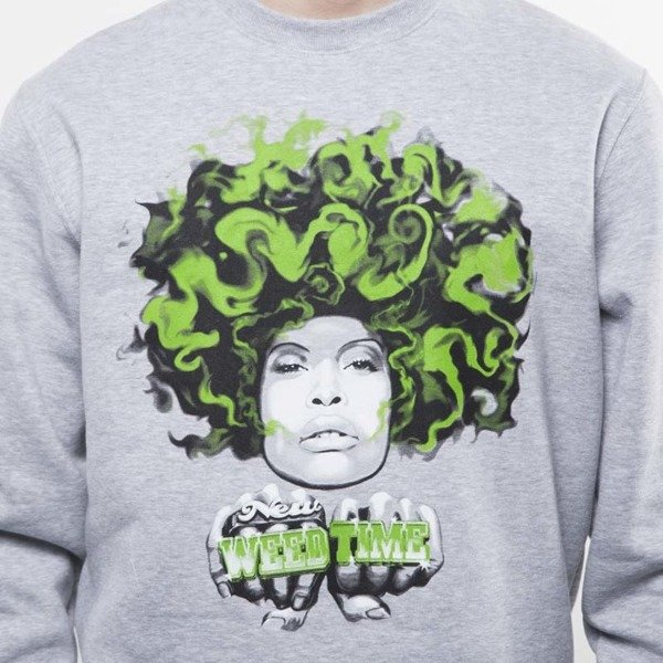 Mass Denim sweatshirt Lady In Green Crewneck light heather grey SS 2017