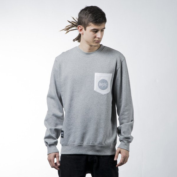 Mass Denim sweatshirt Pocket Signature crewneck light heather grey