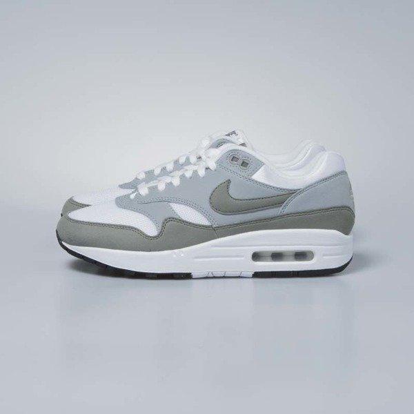le scarpe nike air max 1 wmns bianco / nera con lo stucco luce pomice