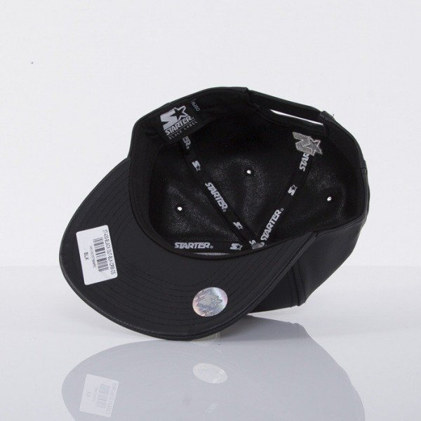 Starter cap snapback Black Out black leather ST430