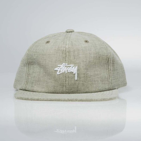 Stussy Coated Linen Strapback Cap green