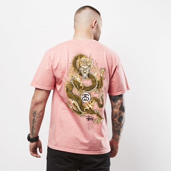 Stussy t-shirt Fire Dragon Pig. Dyed Tee pink