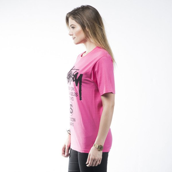 Stussy t-shirt World Tour pink WMNS