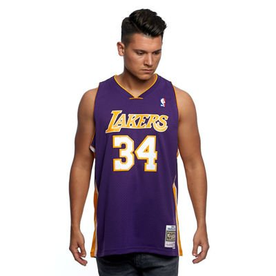 Mitchell & Ness Los Angeles Lakers #34 Shaquille O'Neal purple Swingman Jersey