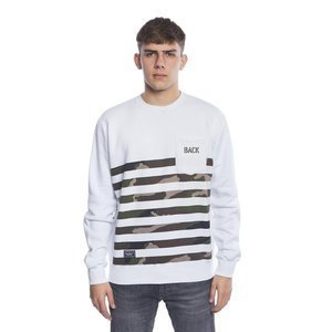 Backyard Cartel bluza sweatshirt Half Stripes Woodland Pocket crewneck white