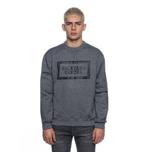 Backyard Cartel bluza sweatshirt Label Logo crewneck dark grey heather