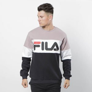 Bluza Fila Man Straight Blocked Crew black-bright white-purple dove