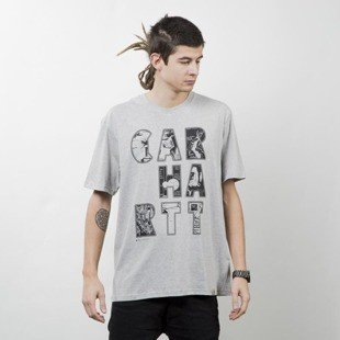 Carhartt WIP koszulka S/S Capital Letters T-Shirt light grey heather / black