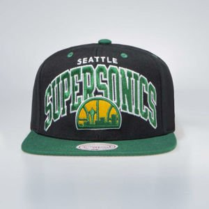 Czapka Mitchell & Ness Seattle Supersonics Snapback Cap black / green Team Arch