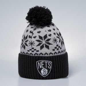 Czapka zimowa Mitchell & Ness Brooklyn Nets Beanie black / grey T Calp Bobble Knit