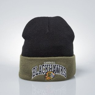 Czapka zimowa Mitchell & Ness Chicago Blackhawks black / olive EU349 ARCHED CUFF KNIT