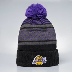 Czapka zimowa Mitchell & Ness Los Angeles Lakers Beanie black / purple Highlands 2.0 Pom Knit