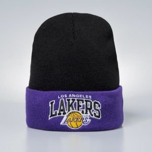 Czapka zimowa Mitchell & Ness Los Angeles Lakers black / purple Arched Cuff Knit