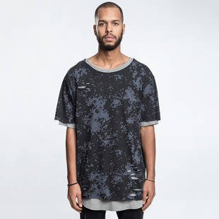 Koszulka Cayler & Sons BLACK LABEL CSBL Deuces Long Layer Tee black camo / heather grey CSBL-HD16-AP-13