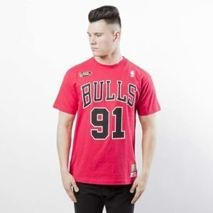 Koszulka Mitchell & Ness Chicago Bulls #91 Dennis Rodman T-shirt red Name & Number Traditional