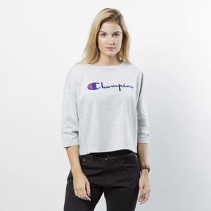 Koszulka damska Champion Longsleeve 3/4 Embroidered Logo WMNS grey heather 110474/S18/EM004