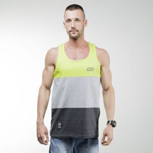 Mass Denim tank top koszulka Horizon dark heather grey / toxic green