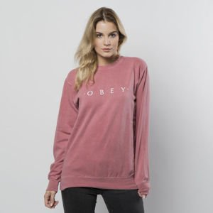 Obey bluza sweatshirt Novel Crewneck dusty dark rose