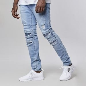 Spodnie Cayler & Sons All Day Denim Paneled Inverted Biker Denim Pants ripped light blue