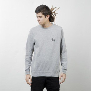 Stussy bluza Basic Logo Crew grey heather