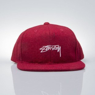 Stussy czapka snapback Smooth Stock Melton Wool Cap red