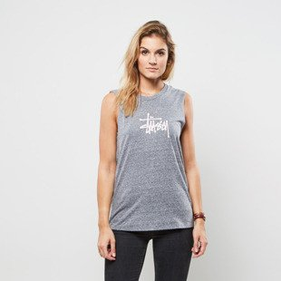 Stussy koszulka tank top Basic Stussy Raw Edge Muscle grey heather WMNS