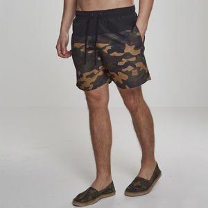 Szorty Urban Classics Block Swim Shorts black / woodland camo