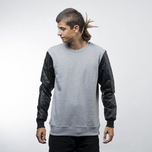 Urban Classics bluza Quilt Leather Imitation Sleeve Crewneck grey black (TB1110)