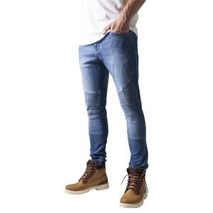 Urban Classics spodnie Slim Fit Biker Jeans blue washed TB1436