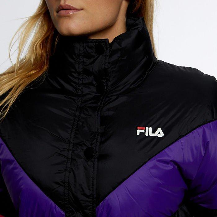 Damska Kurtka zimowa FIla Women Reilly Puff Jacket black tillandsia purple pink yarrow