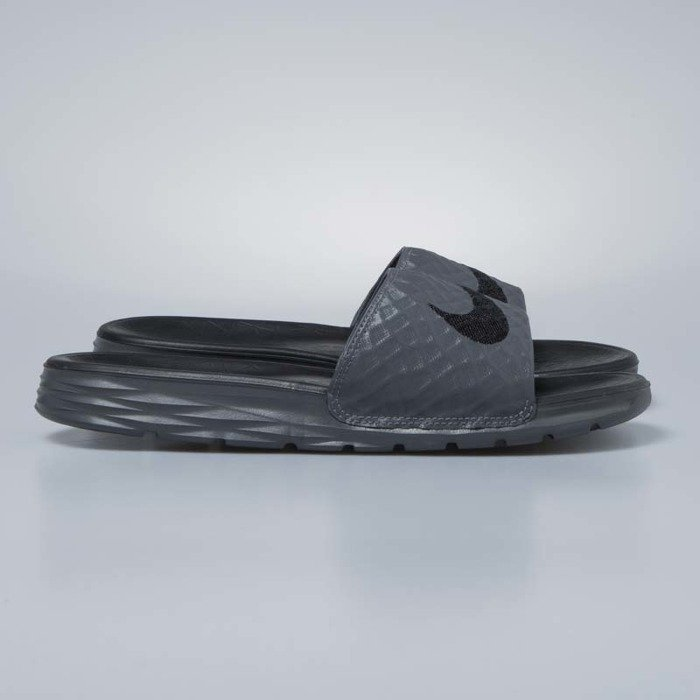 Klapki Nike Benassi Solarsoft dark grey black 705474 090
