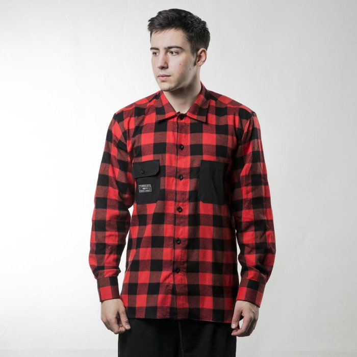 Koszula turbokolor tns flannel shirt red black ss16 for Flannel shirt red black