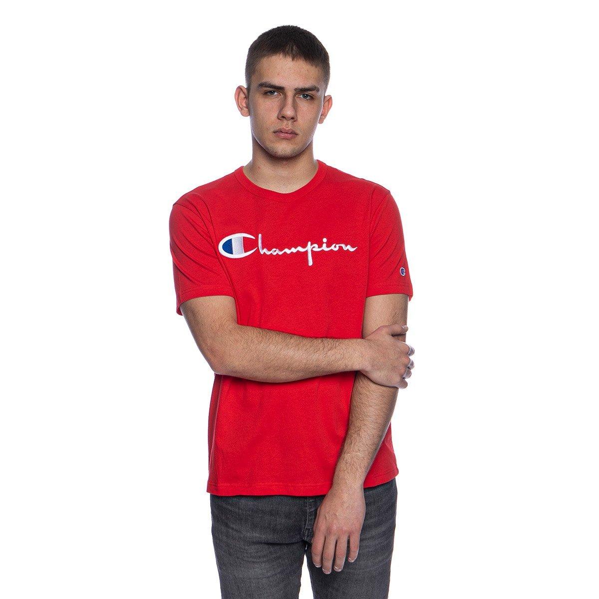 Koszulka Champion Reverse Weave Script Logo Crew Neck T shirt czerwona