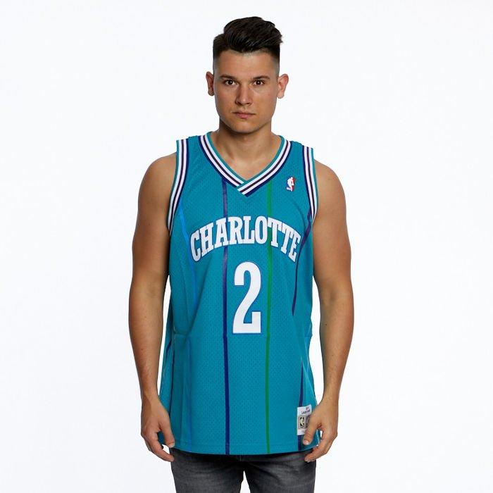 check out 11b6a d464d Koszulka Mitchell & Ness Charlotte Hornets #2 Larry Johnson teal/white  Swingman Jersey