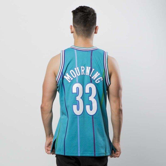 ... Koszulka Mitchell   Ness Charlotte Hornets  33 Alonzo Mourning blue  Swingman Jersey ... 64d84336b