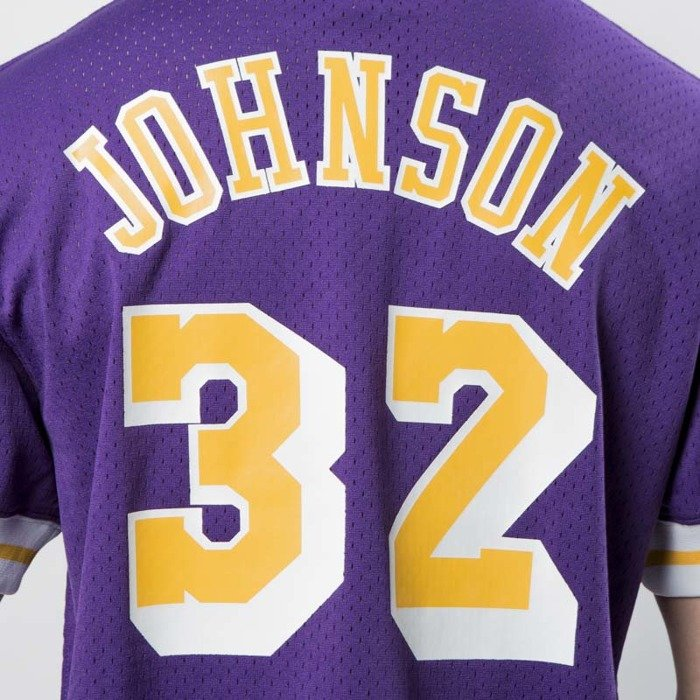Koszulka Mitchell & Ness Los Angeles Lakers - Magic Johnson purple / yellow  Name & Number Mesh Crewneck