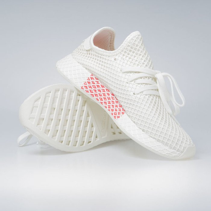Sneakers buty Adidas Originals Deerupt Runner off white ftwr white shock red (BD7882)